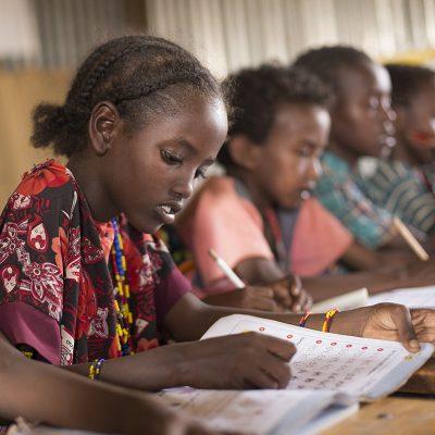 Child studying in classroom, Ethiopia
