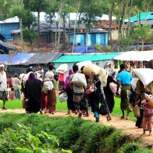 Rohingya refugees fleeing Myanmar on foot